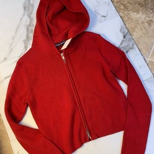 New Brandy Melville ribbed red hoodie.